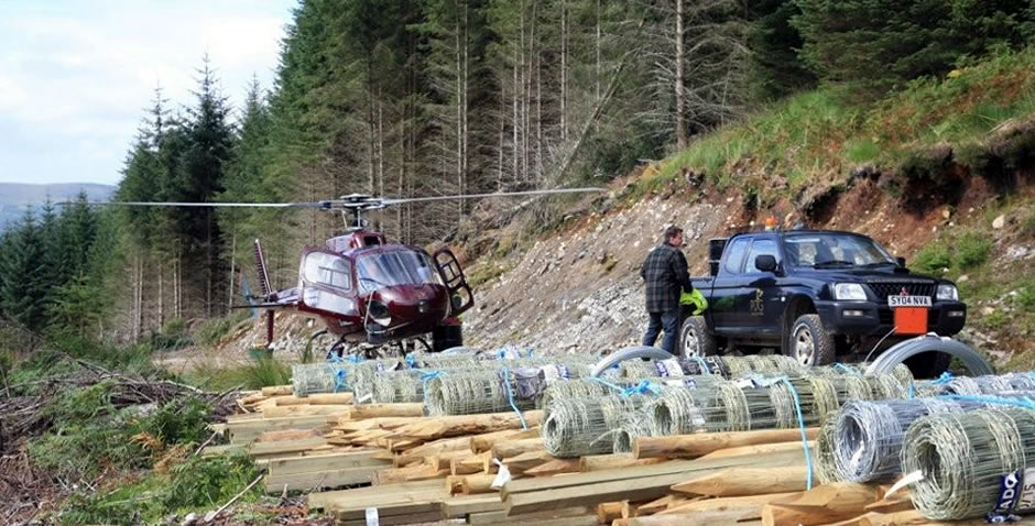 Aerial work and forestry deer fencing in Scotland
